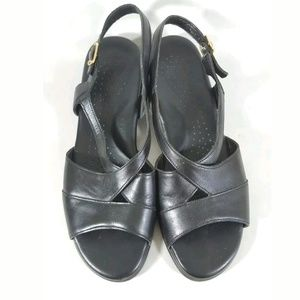 Sas sandals black leather slingbacks wedge 8M